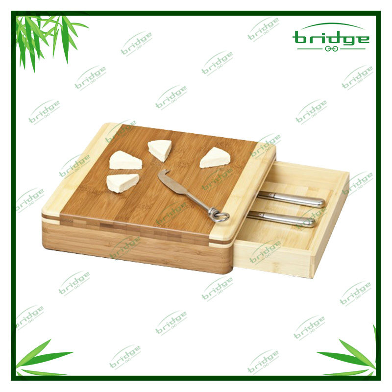 End grain bamboo cutting board with drawer