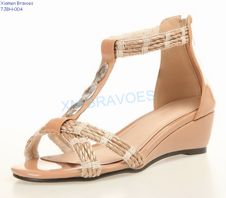 Fashion Womens Nude T Strap Wedge Sandals