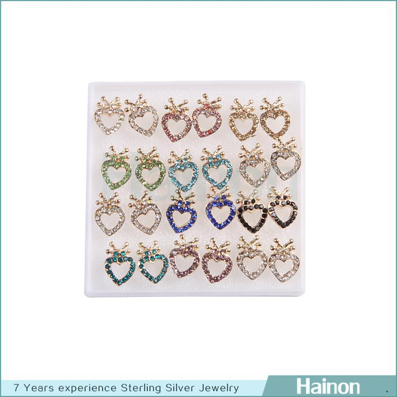 Wholesale High end alloy cute heart studs earrings set 12pairs one ...