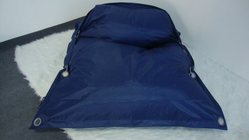 Square beanbag chair with eyelet in outdoor with vinyl material
