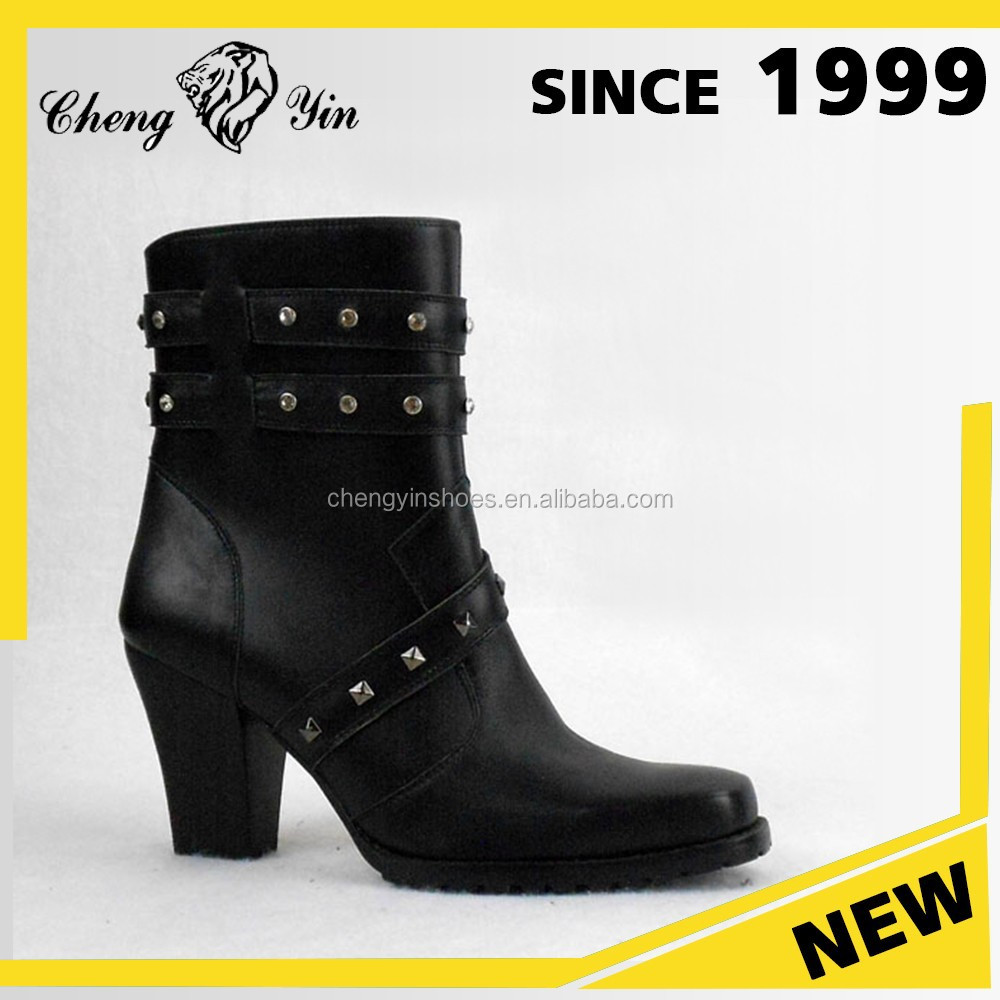 China wholesale high quality genuine leather Italian design Elegant Motorcycler Non Slip ankle Boots For Women