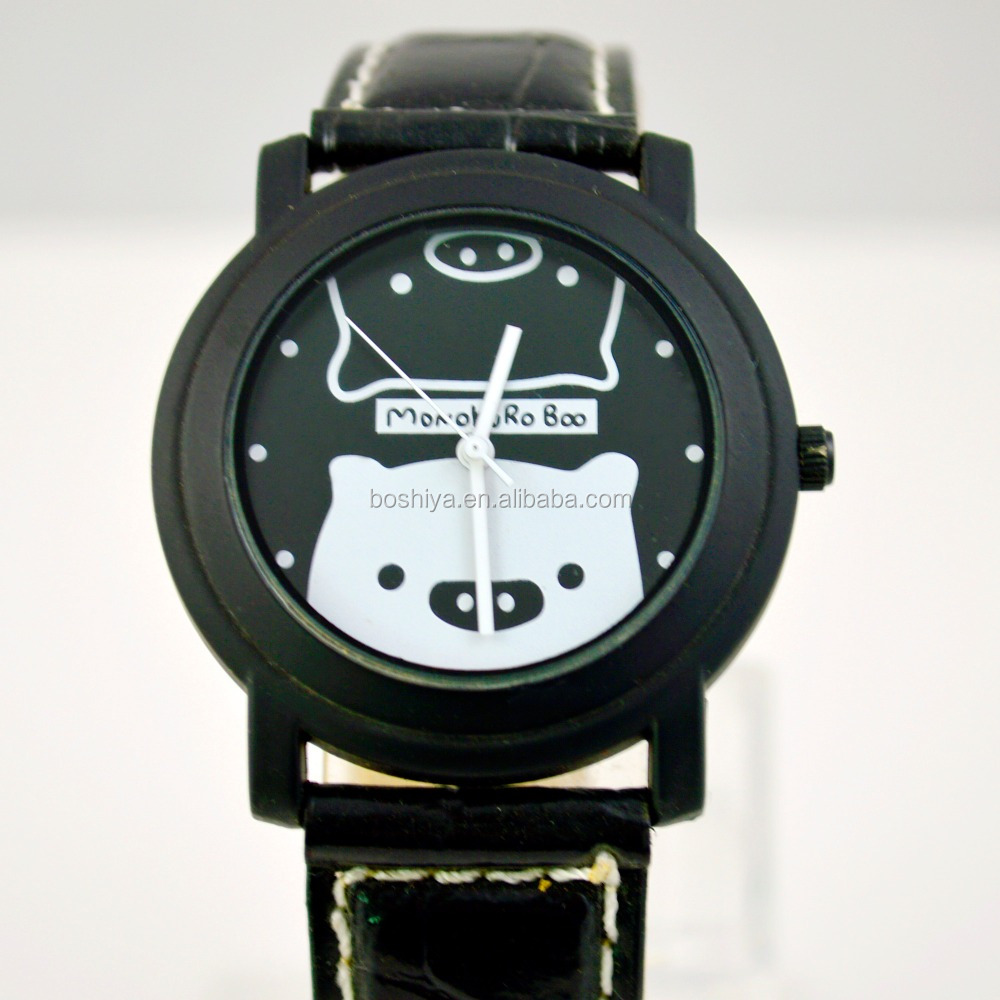 BSY Black and white bear and pig unsex children watch custom cheap watch
