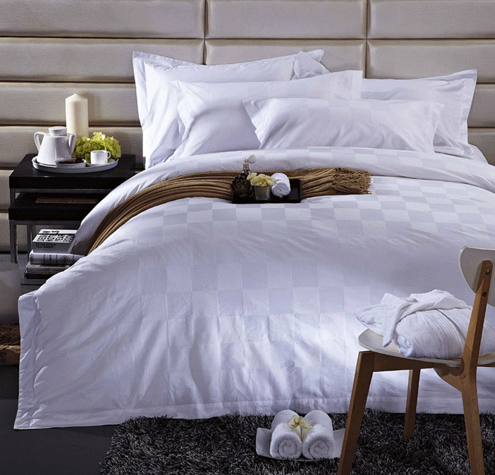 Luxurious Contemporary Plain White Hotel Bedroom Bedding Set