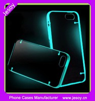 JESOY Mobile Accessory Acrylic Transparent Back Cover Soft TPU Luminous Cell Phone Case For Samsung