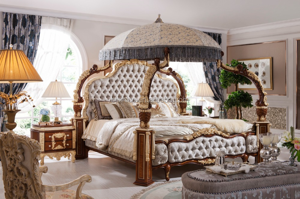 Luxury Italian Style Gold Leaf Bedroom Furniture Baroque