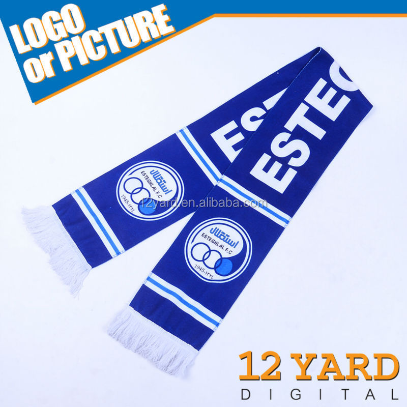 Customize Promotional fans gift digital textile printing cashmere scarf Sublimation football printting Scarves