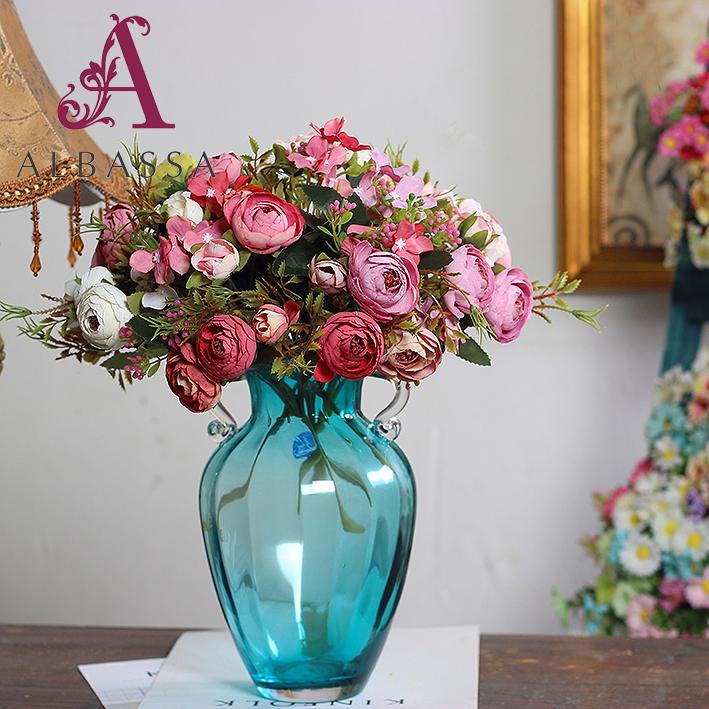 Rose Fake Flower Wedding Silk Artificial Arrangement Home Decoration Wholesale Poinsettia Flowers