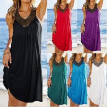 Stock Lace V-neck Sleeveless Six Solid Colors Cool Sex Girls Long Cover Up Beach Dress