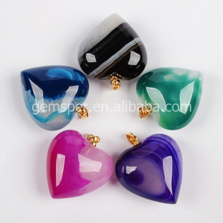 New!Amazing black colorful onyx pendant,natural stone heart shape modern agate pendants