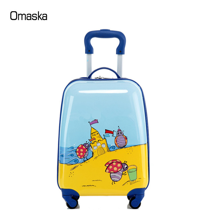 Cute Design <strong>ABS</strong>+PC Material Hard Shell Kid Bags Colorful Cartoon Durable Wheel Trolley Kid Bags