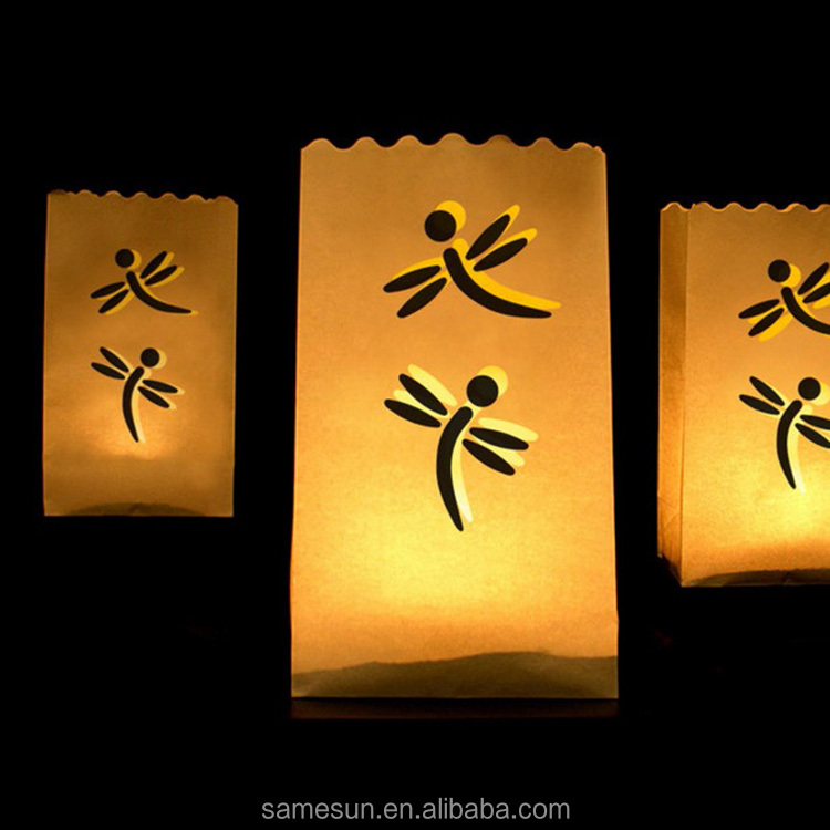 Dragonfly Cut Luminous Paper Candle Bag for Weddings Decoration