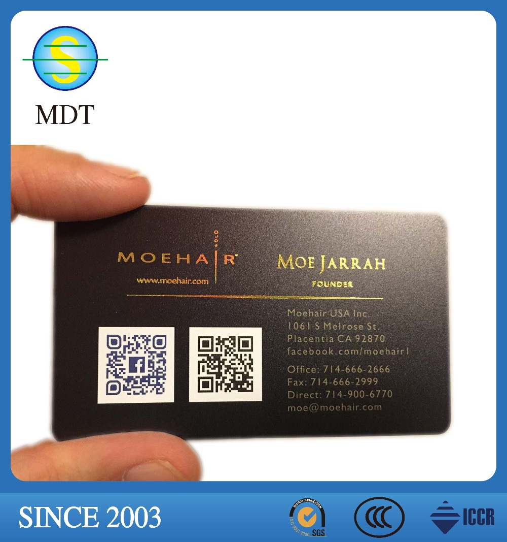 2016 hot sale free design pvc business card cheap with qr code