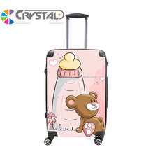 Patented Hard Shell Fashion Design Cartoon Kids Bear Print Transparent Clear Super Light Four Wheels PC ABS Travel luggage