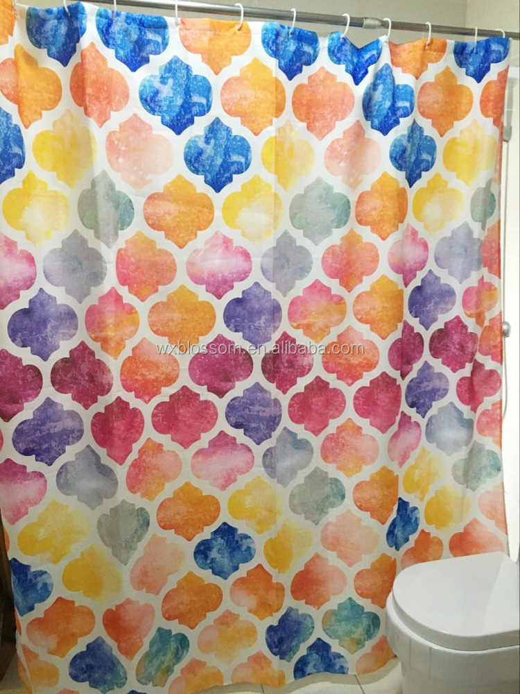 fabric shower curtain with shower curtain rod