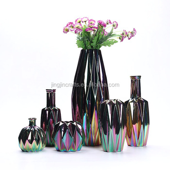 iridescent electroplated geometric series ceramic vase