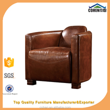 classic chesterfield vintage pure oxhide genuine Leather Sofa arm chair furniture