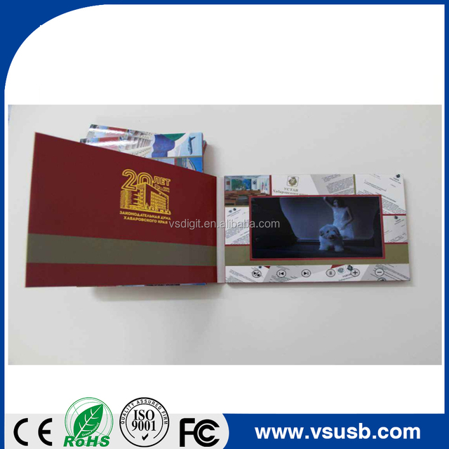 Lcd video player mailer 5inch, custom electronic video brochure card with printing