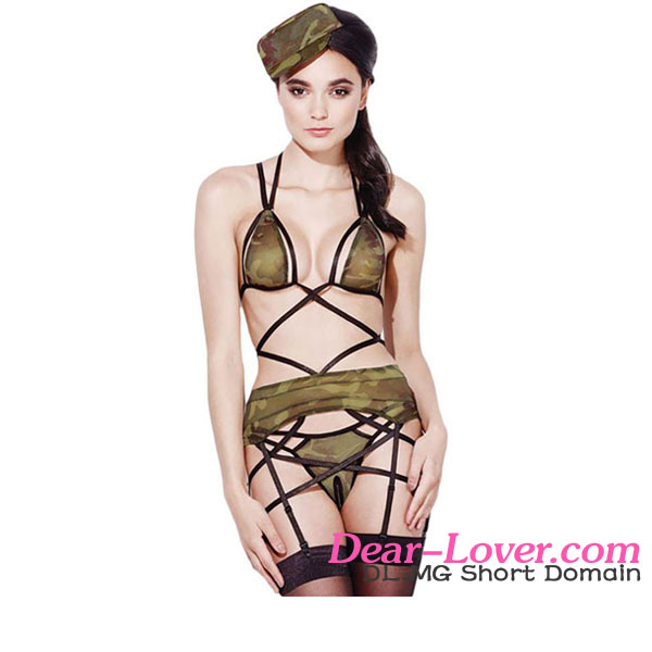 Wholesale 4pcs Sexy Sheer Army Lingerie Outfit Costumes