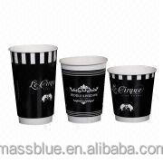 Logo printed disposable double wall hot coffee paper cup with lid