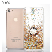 Bling Glitter Floating Dynamic Flowing Liquid Hard Clear Case Soft TPU Bumper Cover Kickstand Ring Holder For iPhone 7