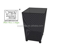 Outdoor black powder coating square shape fire pit in middle size