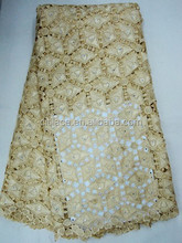 gold swiss cord J363-4 african nigeria cotton guipure embroidery lace fabric with stones manufacturers