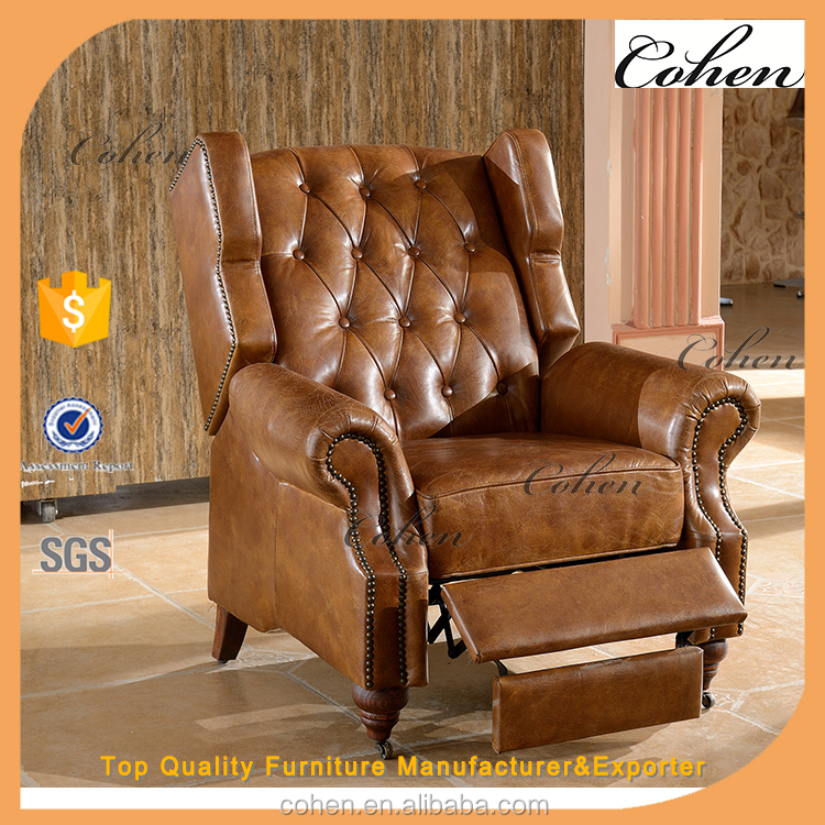 vintage style multi-function leather armchair with brass caster wheels