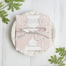 Blush Pink Floral With Grey Band Laser Cut Wedding Engagement Invitations <strong>Card</strong>
