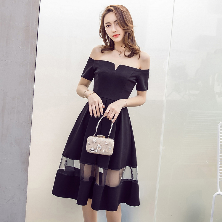 STKKOO Women Fashion Off the Shoulder Slash Neckline Short Sleeve Gauze Patchwork Big Bottom Elegant Black A Line Dress