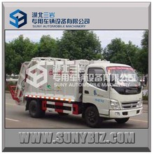 3-5m3 120HP foton 4*2 compactor garbage truck rubbish truck for sale