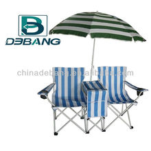 Camping Double Folding Chair With Umbrella , Cooler and Magazine Bag DB1024U