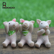 Roogo China manufacturer home & garden decor mini YWTK animal pigs figure