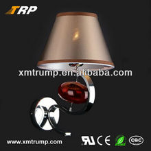 Brown fabric shade decorative indoor led wall light