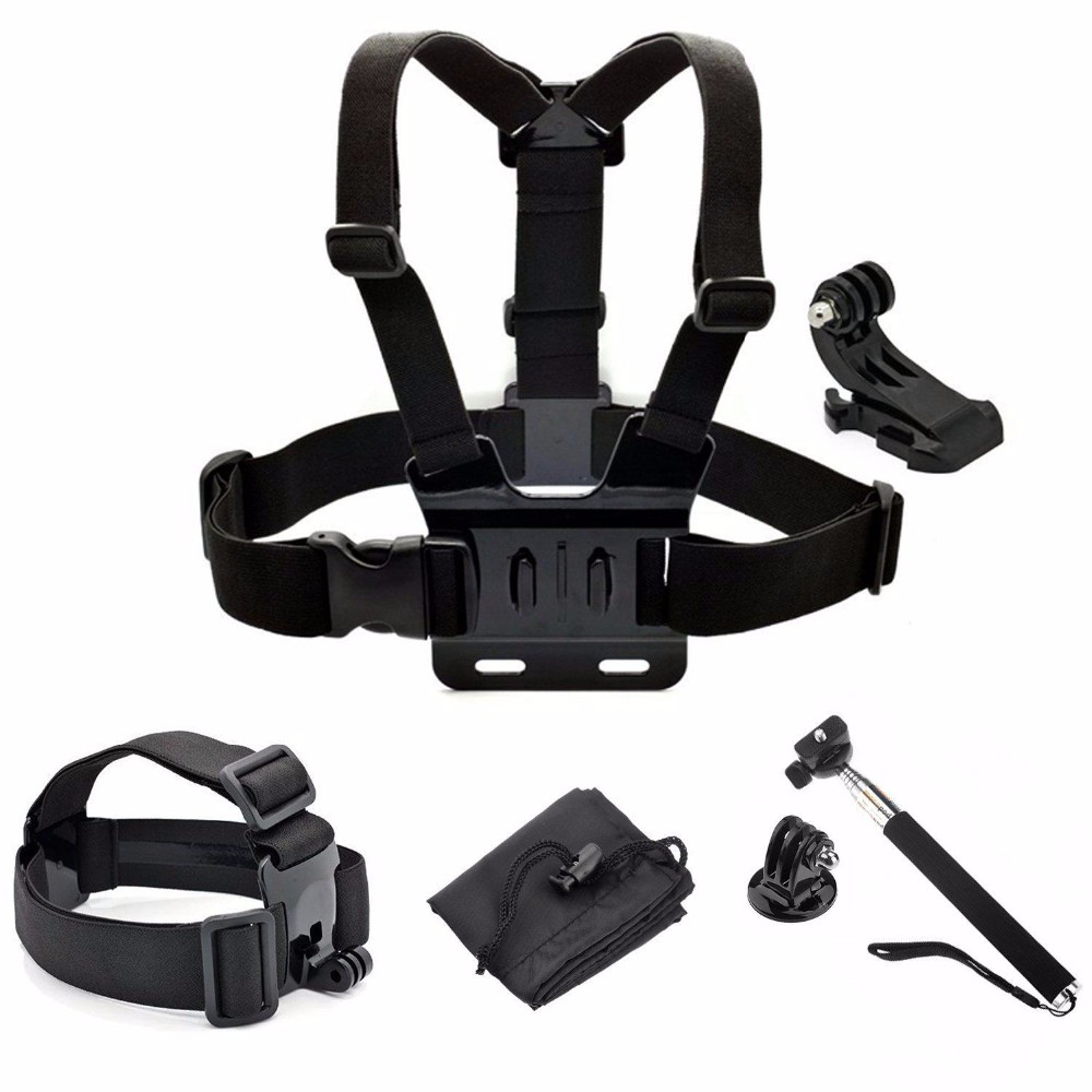 Travel Accessories Set for SJCAM Gopros HEROS 4 3 5 Session Xiaomi Yi 4K Kits Monopod Head Chest Strap Mount