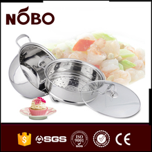 26cm stainless steel steam pot, hot food steamer with glass lid