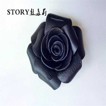 Japan Korean European unique fancy handmade real sheep leather rose flower brooches