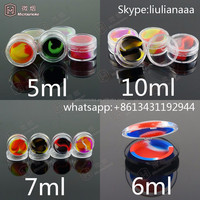 5ml 6ml 7ml 10ml clear acrylic wax concentrate containers, Non-stick silicone Dab BHO Hash Oil Dry Herb Storage Jars