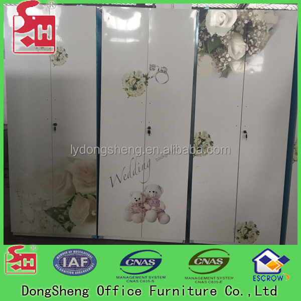 Professional Design Clothes Cabinet Steel Locker With Beautiful Flower
