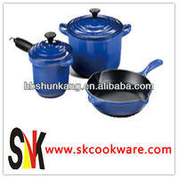 Cast Iron Blue Color Enamel Cookware Set 3PCS