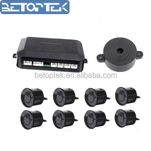 Black Car 8 Sensors Front&Rear View Video Parking Sensor System Radar