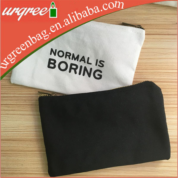 Black white cotton Zipper Makeup Brush Bag With Custom Logo