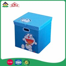 Reusable Accessory Cartoon Stackable Fabric Storage Bin With Lid