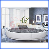 new concept real leather upholstered round Bed 6805#
