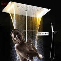 New Arrival stainless steel rainfall led electric shower head ceiling overhead shower set with hand shower/holder