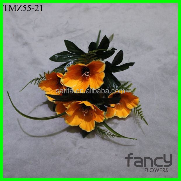 5 heads artificial flowers plastic daffodil