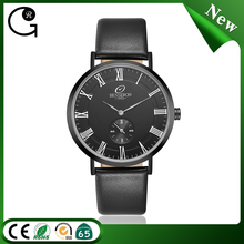 Black mens thin watch design your own custom name thin stainless steel watches