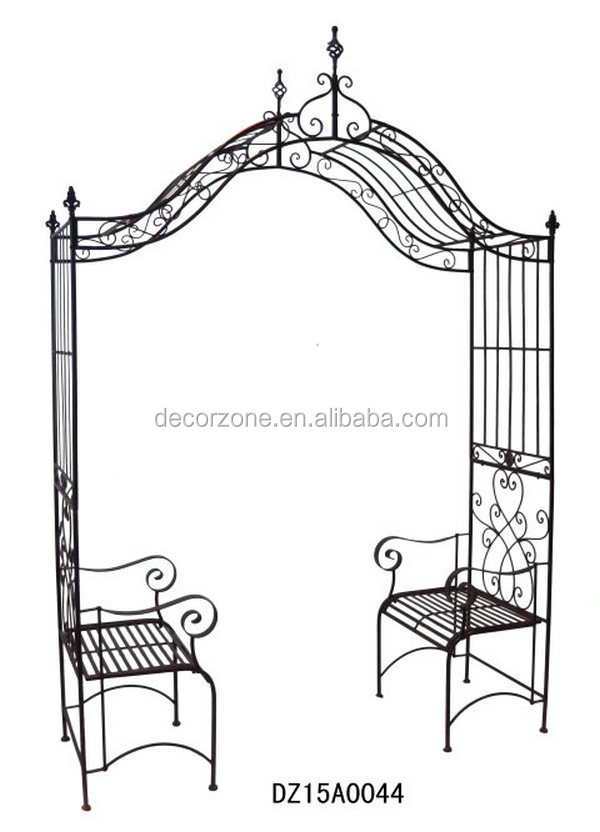 decorative metal arch gardens outdoor furniture with bench