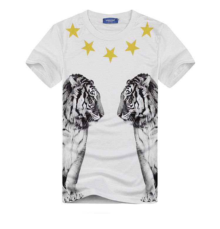 2015 New Fashion women/men virgin two side print five stars Animal double tiger 3d t-shirt tee t shirt top t shirt Plus Size