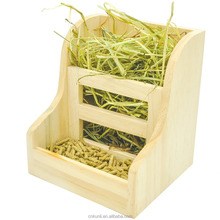 Pet Hay Manger 2 in 1 Wooden Feeder for Rabbit Bunny Guinea Pigs Hamster