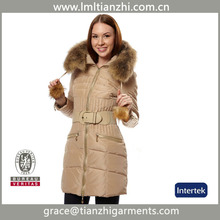 2017 women's fox fur collar winter warm long coat jacket